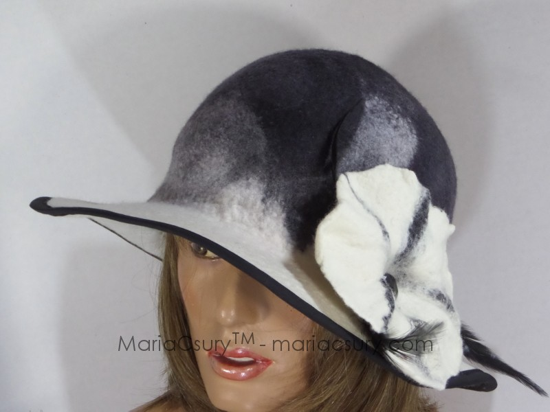 Black and white felted hat