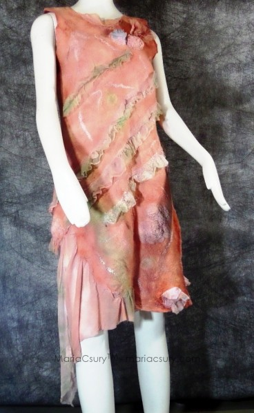 Felted Coral romantic Silk Wool Dress