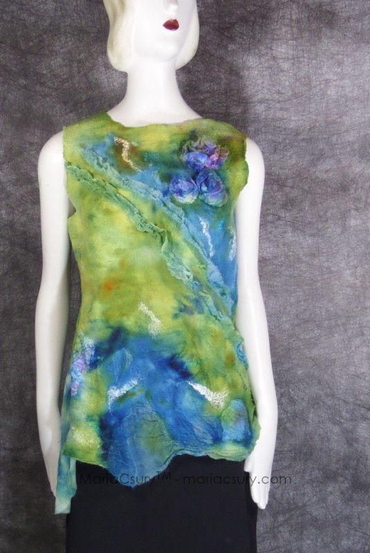 Felted banana green turquoise sleeveless top SP19