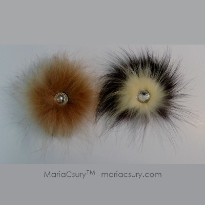 Handmade fox fur brooch