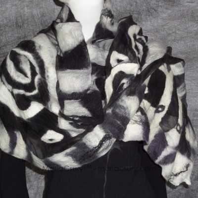 Custom made nuno felted black and white shawl