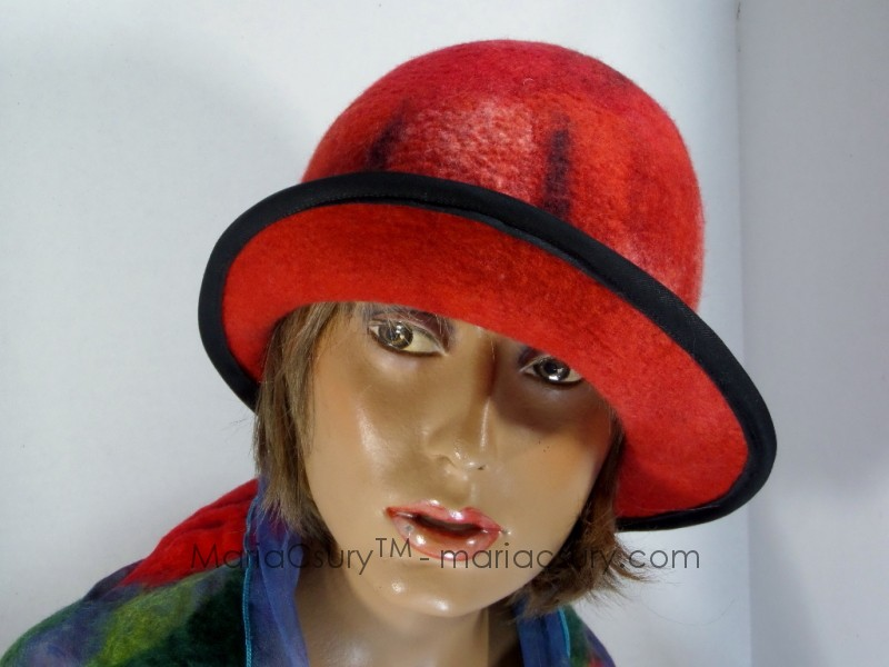 Red felted hat