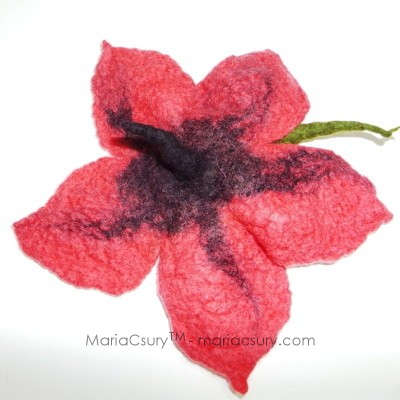 Wet felted flower brooch