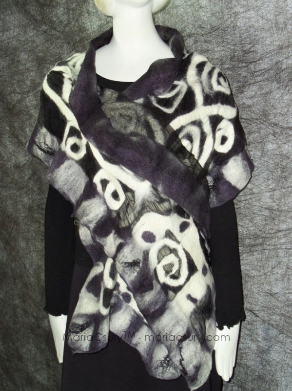Felted black and white abstract shawl