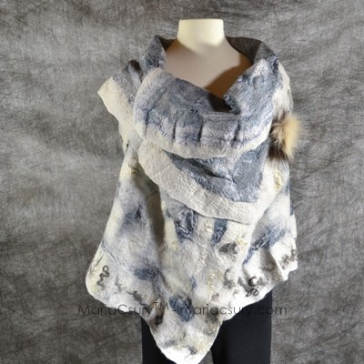 White grey felted vest