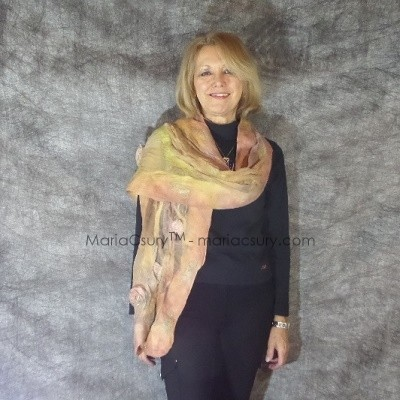 Romantic felted scarf