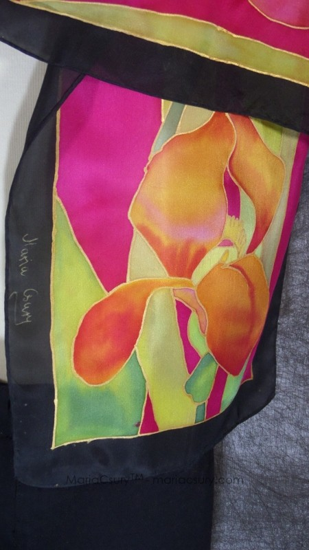 Iris painted silk scarf