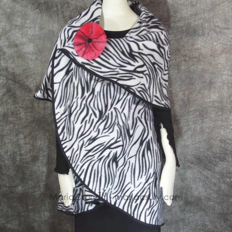 Handmade Fleece Zebra cape