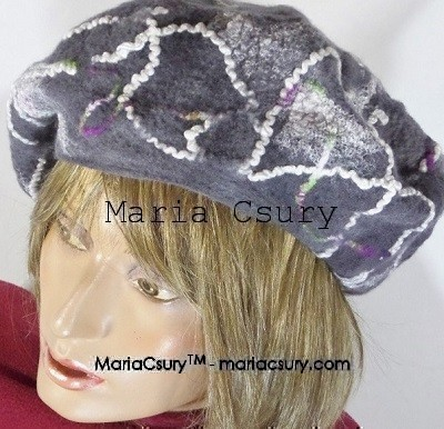 Felted grey unisex beret