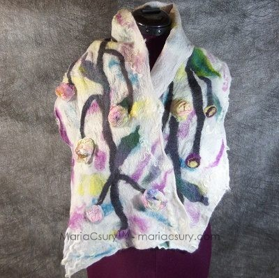 White felted tree blossoms scarf