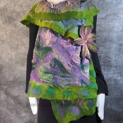 purple green reversible felted vest