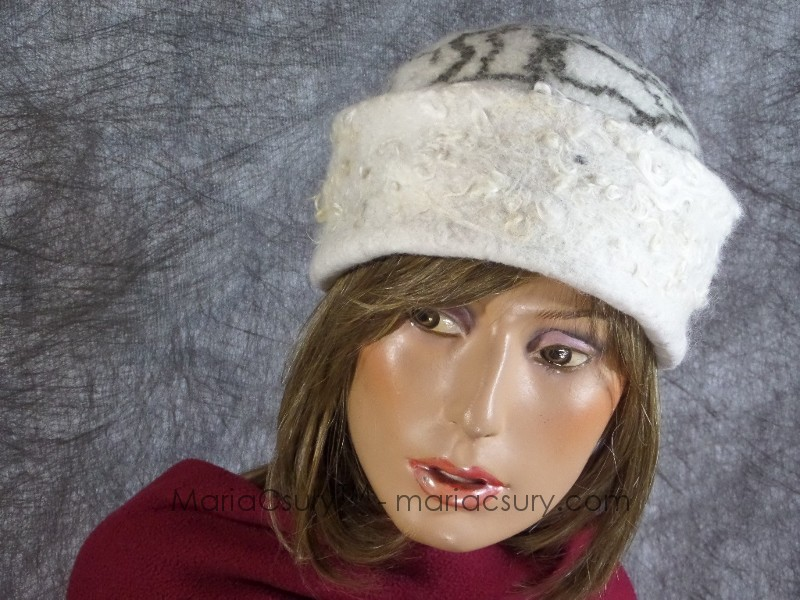 White grey felted wool hat cap