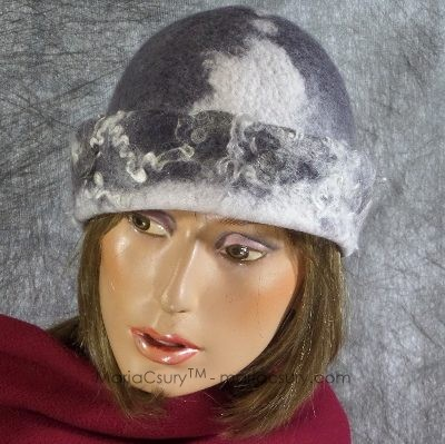 White grey felted winter hat