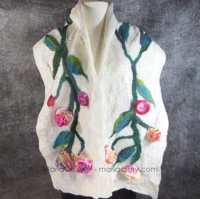 Felted white wool silk blossom woman scarf