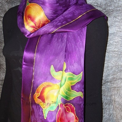purple_tulip_painted_silk_scarf