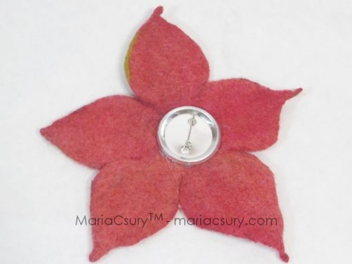 wet_felted_orange_flower_brooch