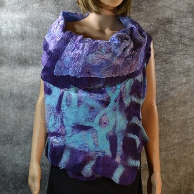 Purple _turquoise _felted _reversible _vest