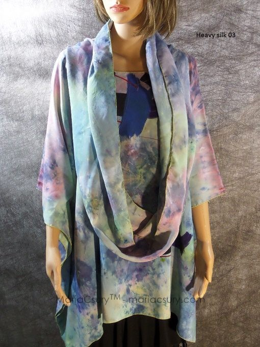 hand_dyed_heavy_silk_poncho_green_blue_and_scarf