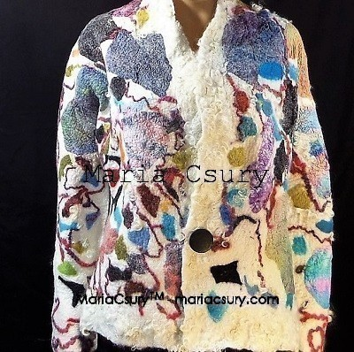 Felt_white_jacket_embellished_colorful_silk _yarn