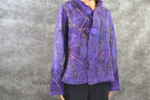 Felt_jacket_wool_coat_Handmade_garment_purple_jacket_Woman_clothing