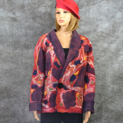 Felt_red_mosaic_jacket_silk_wool