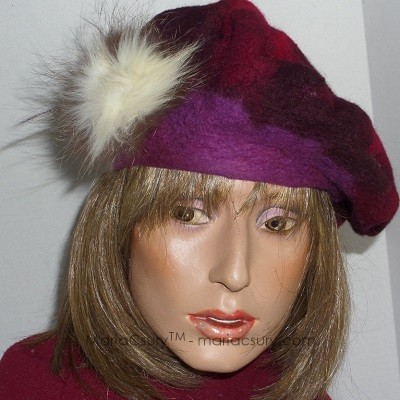 Nuno felted wine red beret