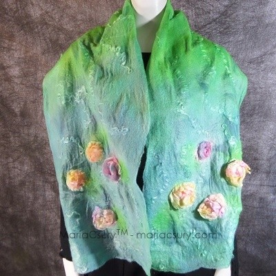 Turquoise green nuno felted scarf