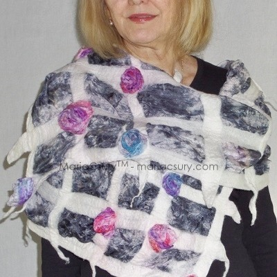 White grey felted rose scarf