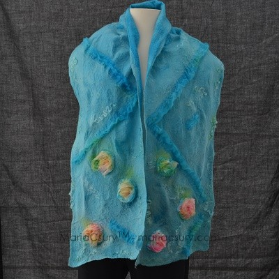 Shabby chic turquoise nuno felted scarf