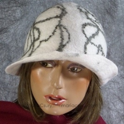 White felted wool hat